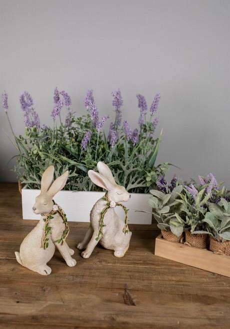 "9"" Resin Floral Garland Bunny"