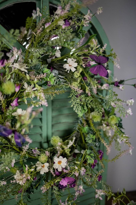 """24"""" Wildflower with Butterfly Wreath"""