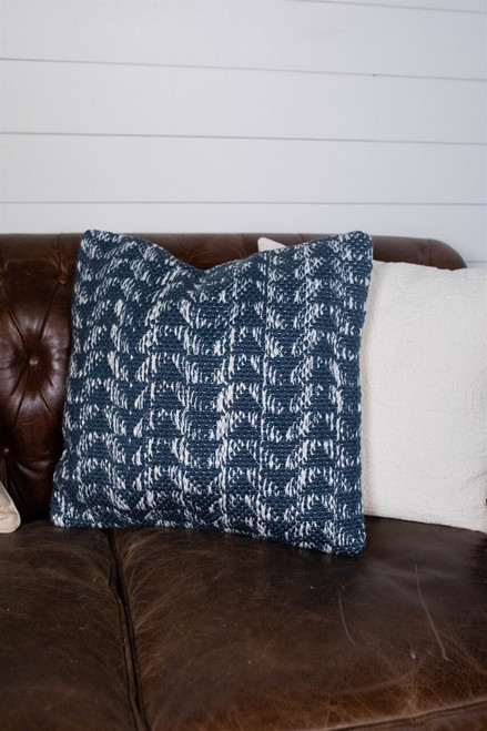 """18"""" Recycled Polyester, Navy Blue And Ivory Pattern Pillow with Polyester Fill"""