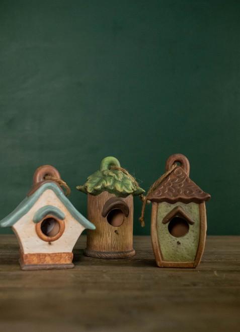 Ceramic & Rope Hanging Birdhouse
