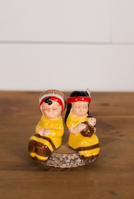 """3"""" Dolomite Native American Couple On Bench Salt & Pepper Shakers - Set of 3"""