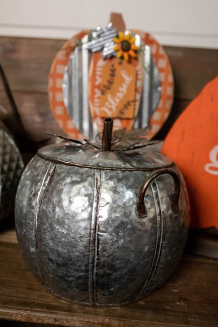 "10 "" Medium Galvanized Metal Pumpkin"