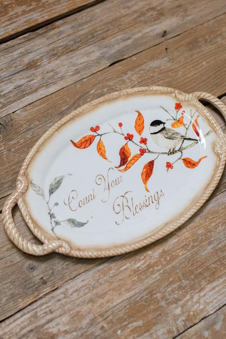 "16"" Count Your Blessings Bird Platter"