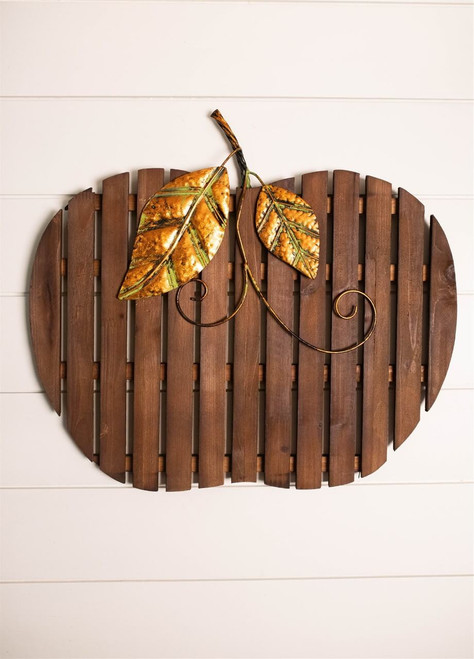 "18"" Wood/Metal Pumpkin Wall Decor"