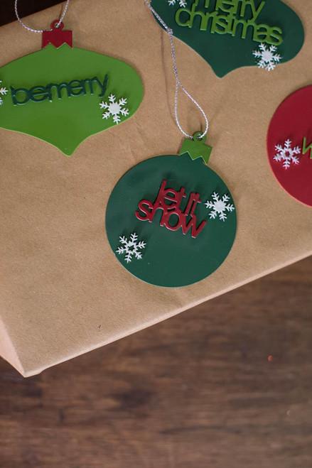 "2"" Metal Christmas Words Ornament Let it Snow"