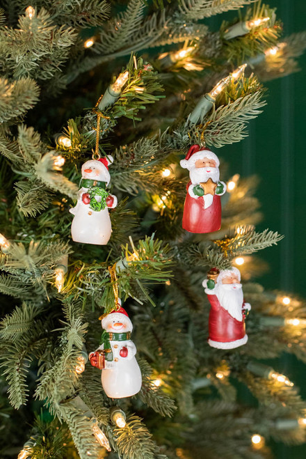 "2"" Resin Santa/Snowman Ornaments"