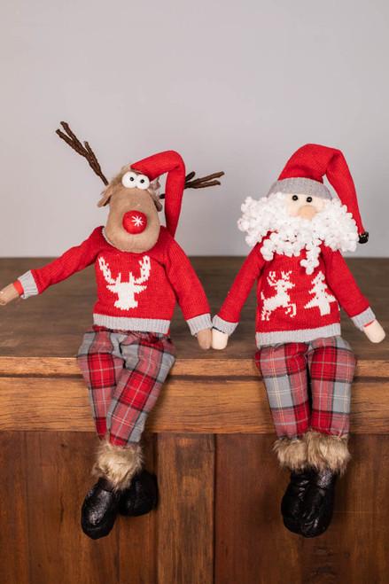"20"" Plush Sweater Reindeer/Santa Shelf Sitter"