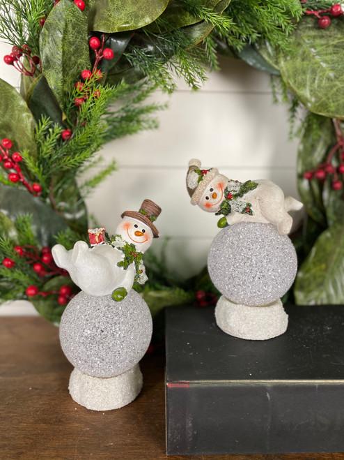 "8"" Resin Light Up Snowman Christmas accent"