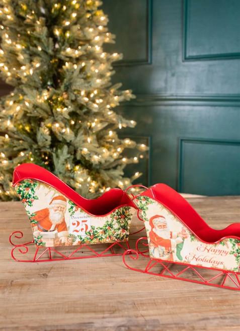 "16"" Metal Holiday Santa Design Sleighs - Set of 2"