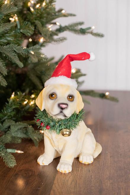 "10"" Resin Santa Hat/Wreath Lab Pup"
