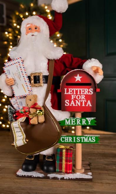 """24"""" H Santa with Wood Mail Box"""