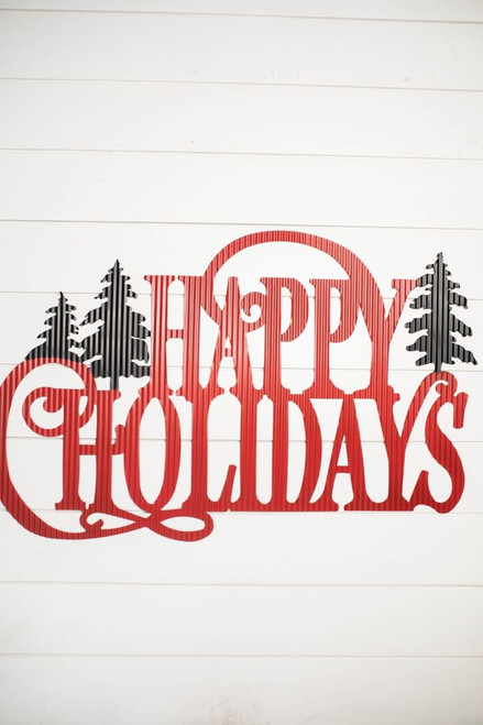 """30.75"""" Metal """"Happy Holidays"""" with Tree Accent Wall Decor"""