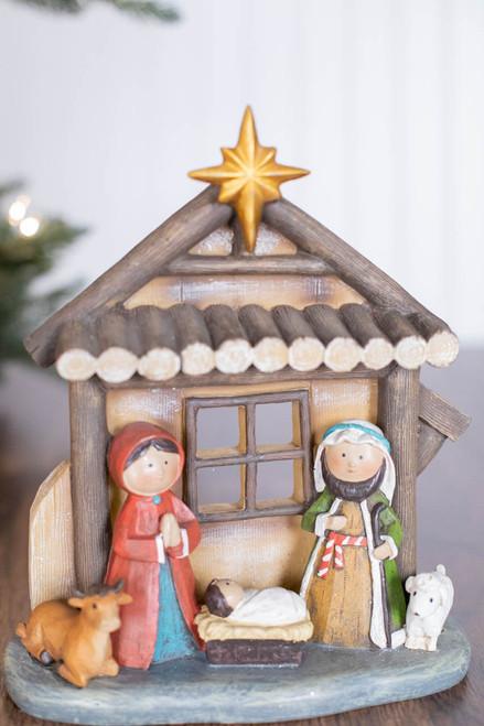 """9"""" Resin Traditional Kid Nativity Scene"""
