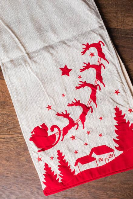 """70"""" Fabric Santa/Reindeer Table Runner"""