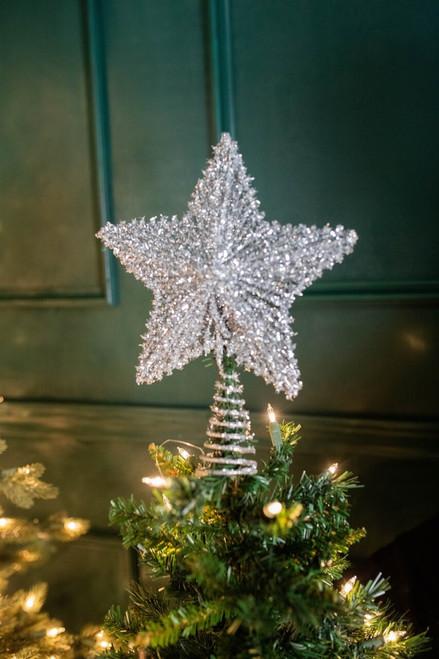 "11.5"" Metal Sparkle Star Tree Topper Silver"