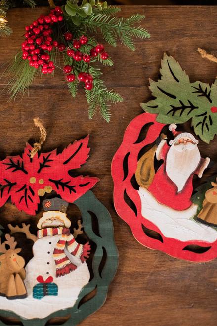"14"" Plywood Santa/Snowman Hanging Wreath"