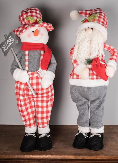 "18"" Holiday Retractable Snowman and Santa Figurine"