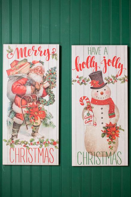 "24"" Vintage Santa/Snowman Wall Decor"