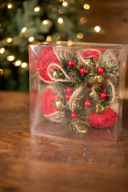 Holiday Ornaments in PVC Box - Set of 4