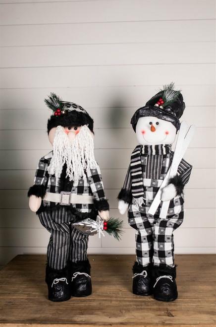 "32"" Black and White Buffalo Check Santa and Snowman Plush Figurine"