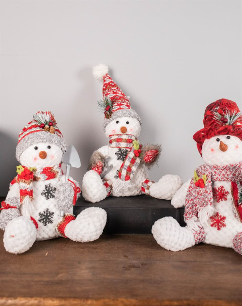 "10"" Plush Holiday Sitting Snowman Figurine"