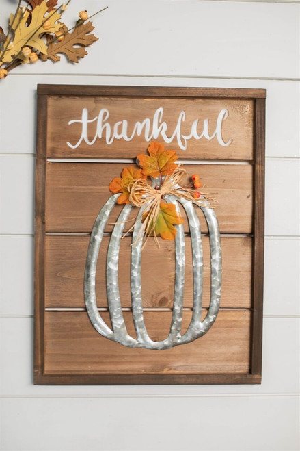 """17"""" Wood Harvest Wall Decor with Metal Pumpkin and Floral Accent"""