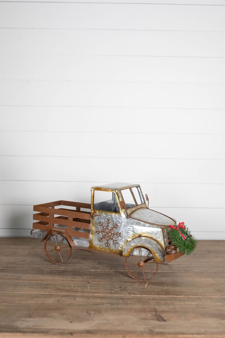 """22"""" Battery Operated Galvanized Metal Antique Truck"""
