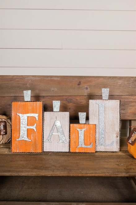 """24"""" Wood / Galvanized Metal """"Fall"""" Wall Decor with Easel"""
