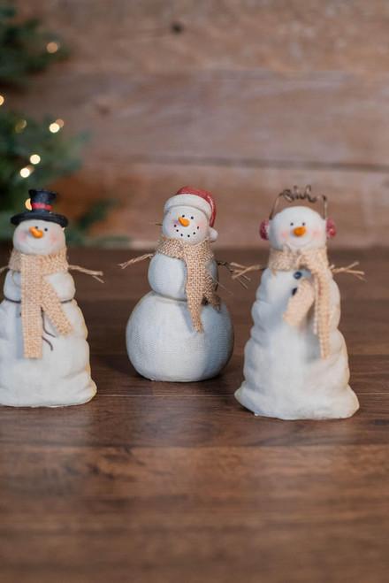 "6"" Resin Burlap Texture Snowman"