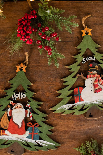 "14"" Plywood Santa/Snowman Tree Decor"