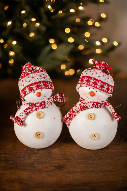 Large Snowman Figure with Scarf & Hat