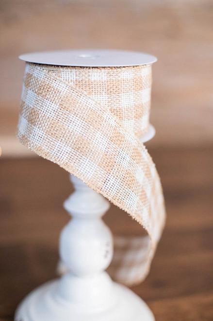 """2.5"""" x 10 Yard Jute Acrylic Cotton Checkered Ribbon"""