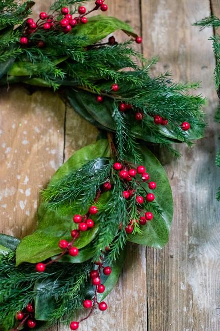 "30"" Red Berry Magnolia Leaf Wreath"
