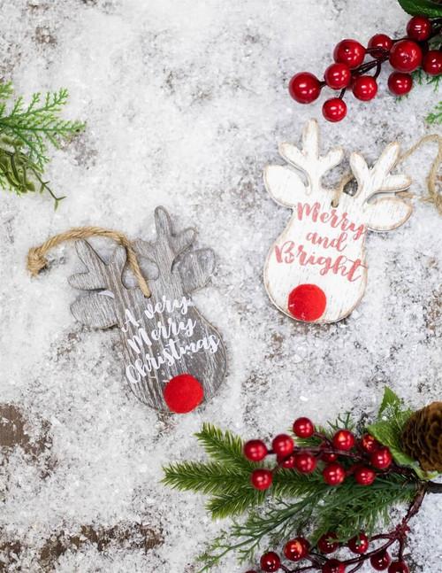 """5""""  Wooden Rudolph Deer Head Ornament"""