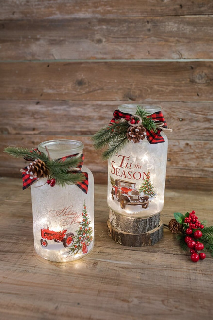 """9.8"""" Lighted Frosted Glass Jar"""