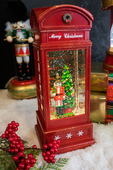 """10"""" Battery Operated Lighted Spinning Water Globe Telephone Booth with Holiday Design"""