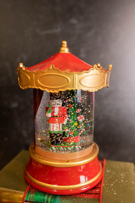 """8"""" Battery Operated Lighted Spinning Water Globe Lantern with Holiday Design"""