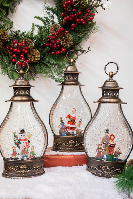 """15"""" Battery Operated Lighted Spinning Water Globe with Holiday Design"""