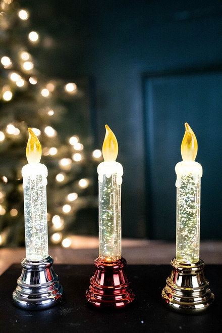 """6.6"""" Battery Operated Lighted Acrylic Glitter Water Candle"""