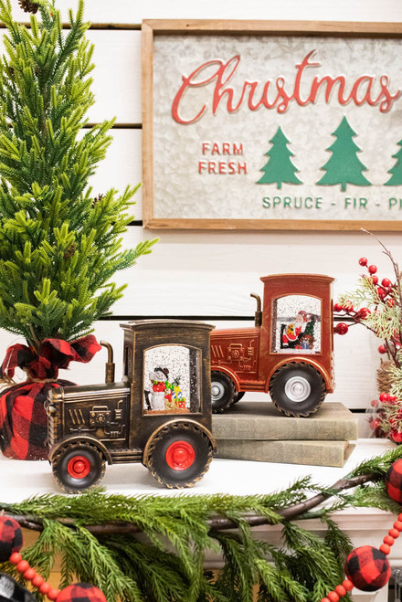 """7"""" Battery Operated Lighted Spinning Water Globe Holiday Tractor"""