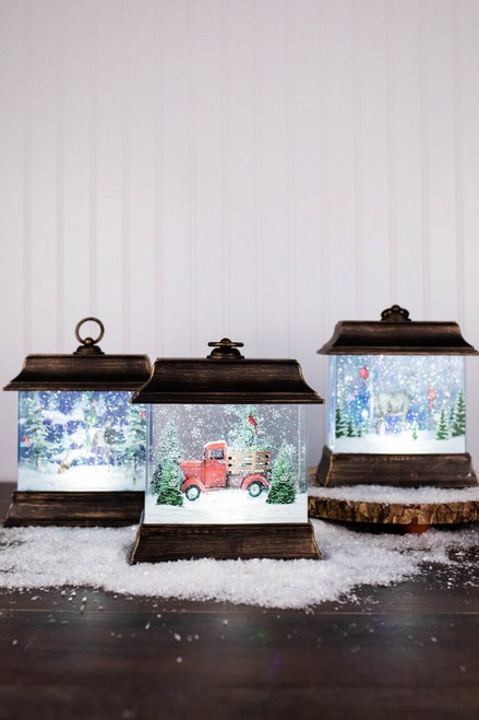 """9.5"""" Battery Operated Lighted Holiday Scene Spinning Water Globe Lantern"""