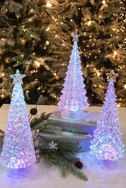 """12"""" Battery Operated Lighted Spinning Water Globe Tree with Timer"""