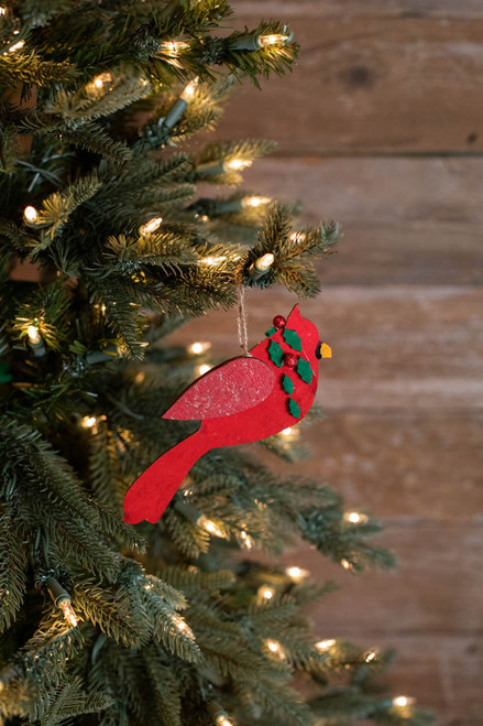 """6.5"""" Cardinal with Holly Ornament"""