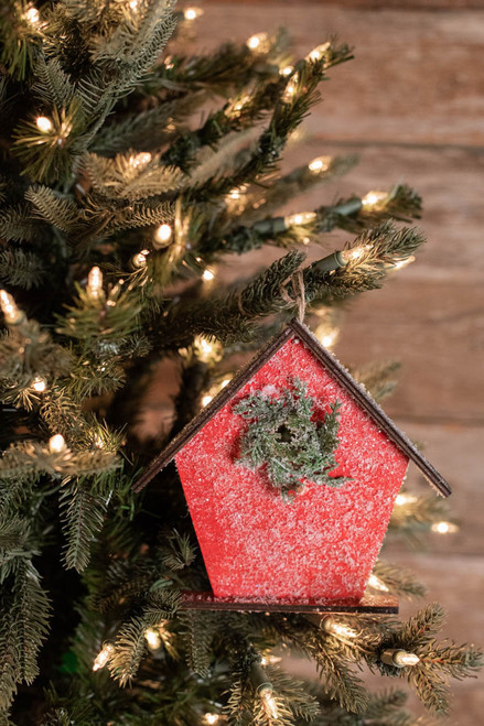"""6.75"""" Frosted MDF Birdhouse Ornament"""