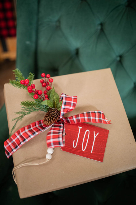 """9"""" """"Joy"""" Tag with Bow Ornament"""