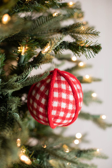"""4"""" Fabric Country Check Ball Ornament"""