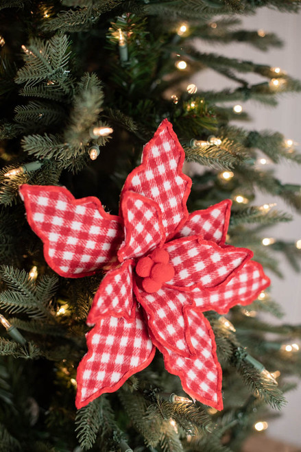 """24"""" Fabric Country Check Poinsettia Stem"""