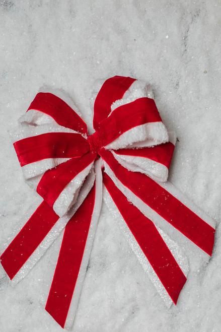 "16x10"" Velvet Ice Fur Double Bow Ornament"