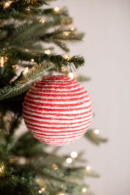 "5"" Iced Peppermint Stripe Ball Ornament"