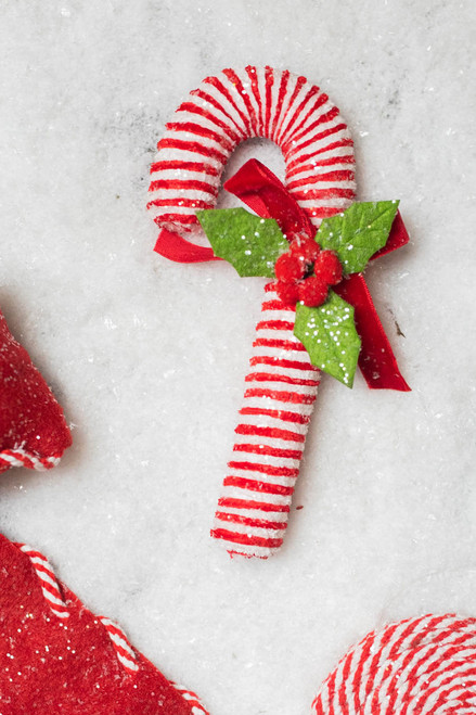"""7.5"""" Iced Peppermint Candy Cane Ornament"""